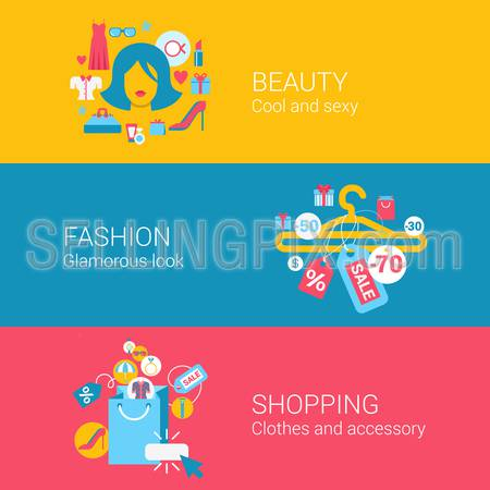 Beauty fashion shopping concept flat icons set of cool glamour sexy clothes accessory and vector web banners illustration print materials website click infographics elements collection.