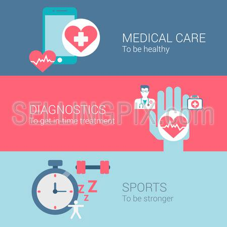 Medical care diagnostics sports concept flat icons set of healthy lifestyle treatment and vector web banners illustration print materials website click infographics elements collection.
