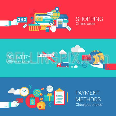 Online shopping delivery payment concept flat icons set of order shipment checkout process and vector web banners illustration print materials website click infographics elements collection.