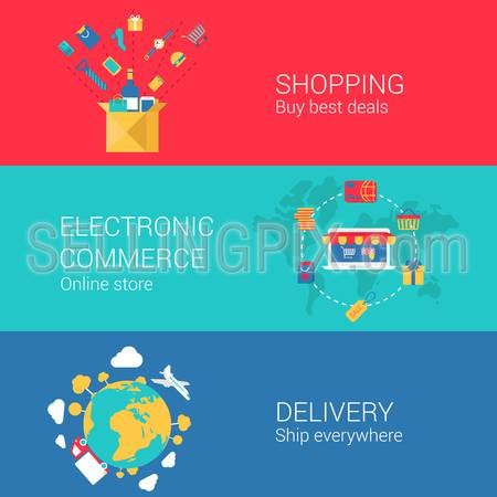 Shopping e-commerce delivery concept flat icons set of online order electronic store shipment and vector web banners illustration print materials website click infographics elements collection.