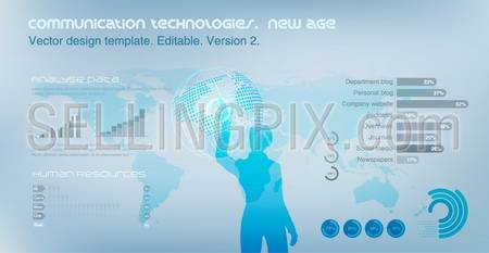 Virtual Girl operating Globe. World map on the background. Future technology concept. Design template. Vector. Editable.