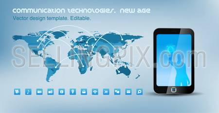 World map political with communication lines. Smartphone touchscreen technology. Design template. Vector. Editable.