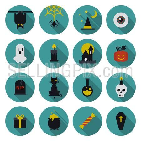 Halloween flat icon set longshadow modern style creative design template collection. Bat spider wizard skull pumpkin cat poison grave eye gift box candle coffin.