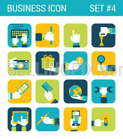 Business flat icons set hands touch objects money coin globe world credit card camera wrench tablet gift box pencil web click infographics style vector illustration concept collection.