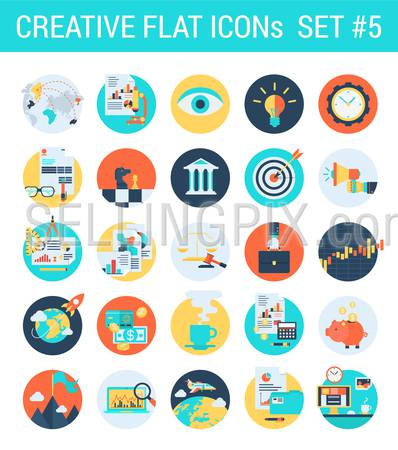 Creative flat icons set business law attorney stock exchange