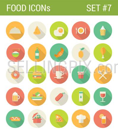 Food flat icons set restaurant cafe bar menu template drink fastfood web click infographics style vector illustration concept collection.