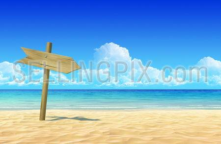Empty wooden signpost to place your logo, product or text on idyllic tropical sand beach. Clean, extremely detailed 3d render. Concept for rest, holidays, resort, spa design or background.
