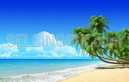 Palms on empty idyllic tropical sand beach. No noise, clean, extremely detailed 3d render. Concept for rest, holidays, resort, spa design or background.