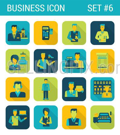 Business flat icons set businessman support office consultant cashier contract staff store boutique web click infographics style vector illustration concept collection.