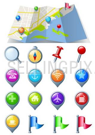 Navigation Icon pack 3D glossy icons.Map Abstract