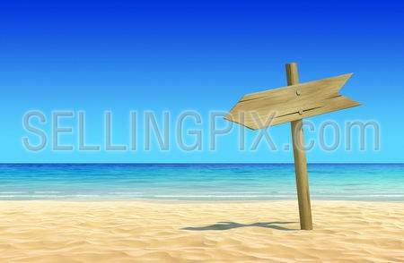 Empty wooden signpost on idyllic tropical sand beach. Clean, extremely detailed 3d render. Concept for rest, holidays, resort, spa design or background.