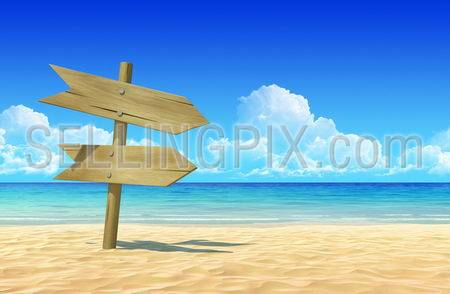 Empty wooden double signpost to place your logo, product or text  on idyllic tropical sand beach. Clean, extremely detailed 3d render. Concept for rest, holidays, resort, spa background.