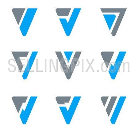 Abstract logo templates for V, W, Triangle shapes.Business icon set