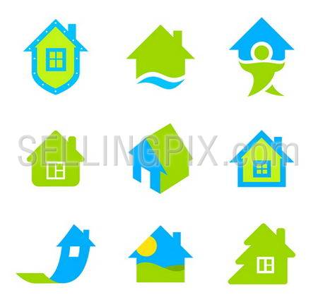 Real estate logo template. House icon set. Realty theme. Different icons for realty.