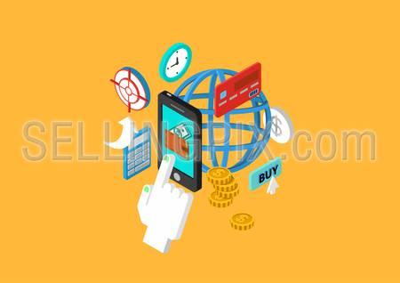 Mobile payment flat 3d isometric design concept touch phone wallet money checkout transfer credit card vector web banners illustration print materials website click infographics elements collection.
