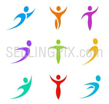 Human logo template elements. Business & Sport icon set. Flying, levitating, tending, rushing activity. Vector.
