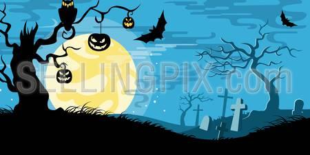 Halloween vector illustration concept template scary graveyard dead tree owl pumpkin bat full moon.