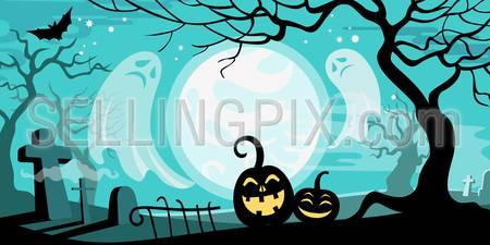 Halloween vector illustration concept template scary graveyard dead tree ghosts pumpkin bat full moon.