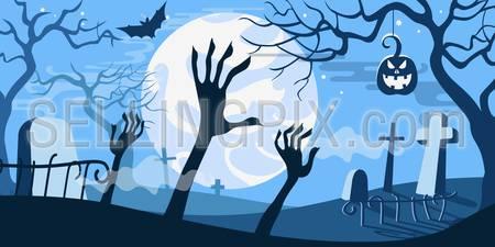 Halloween vector illustration concept template scary graveyard zombie hands dead tree pumpkin bat full moon.