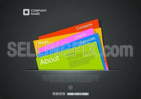 Website template. Creative design. Card interface. Paper concept. Copyspace. Vector. Editable.