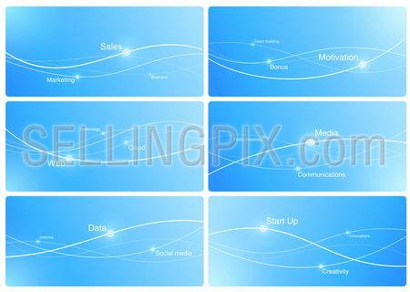 Design Templates of Presentation. Copyspace for your logo, slogan, text etc.Background abstract blue. Lines with points. Business marketing concept. Copyspace. Vector. Editable.