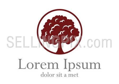 Tree logo template. Growing business concept. Vector icon. Editable.
