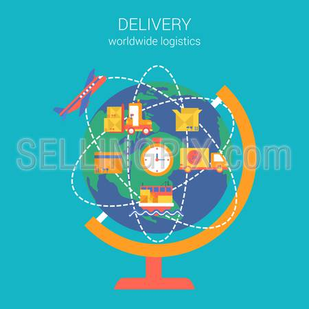 Flat style design vector illustration worldwide global delivery shipping logistics concept. Collage of globe routes plane ship van clock box item crate infographics. Big flat conceptual collection.