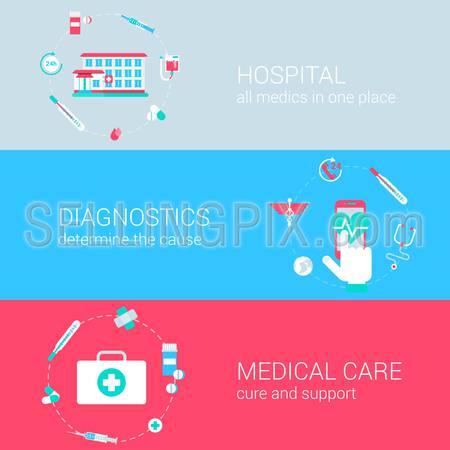 Medical diagnostics hospital clinic care concept flat process icons banners template set vector web illustration website click infographics elements.
