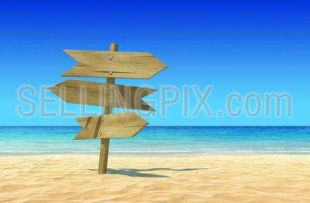 Three empty wooden signpost to place your logo, product or text on idyllic tropical sand beach. Clean, extremely detailed 3d render. Concept for rest, holidays, resort, spa background.