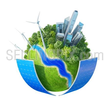 Mini planet concept. City, ocean, park, wind turbines, two solar batteries, river bank and fresh green field. Earth collection. Isolated.