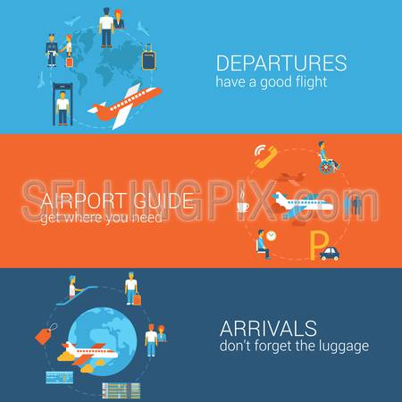 Plane travel flight tickets booking departure arrival concept flat icons banners template set vector web illustration website click infographics elements.