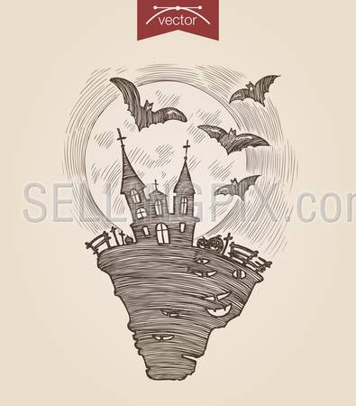 Halloween handdrawn engraving style template dark night scary castle flying bats full moon poster banner print web site pen pencil crosshatch hatching paper painting retro vintage vector lineart illustration.
