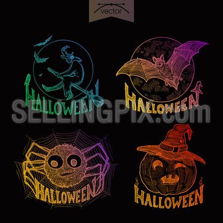 Halloween handdrawn engraving style labels set witch bat spider pumpkin template retro vintage.