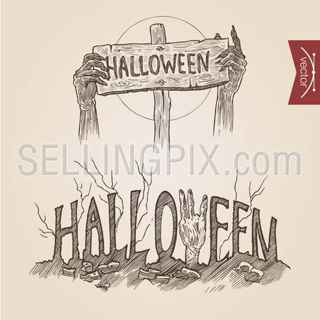 Halloween zombie party hands posters handdrawn engraving style template banner print web site set pen pencil crosshatch hatching paper painting retro vintage vector lineart illustration.