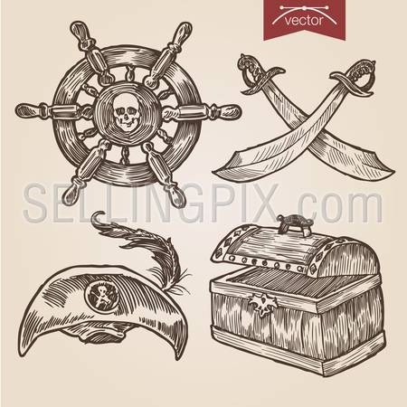 Pirate attributes objects accessory sword saber weapon hat dead man's chest feather handdrawn engraving style labels set ship wheel  template retro vintage