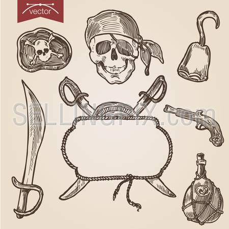 Pirate attributes objects accessory sword saber weapon skull black label hook musket jar pistol gun background label handdrawn engraving style labels set ship wheel  template retro vintage