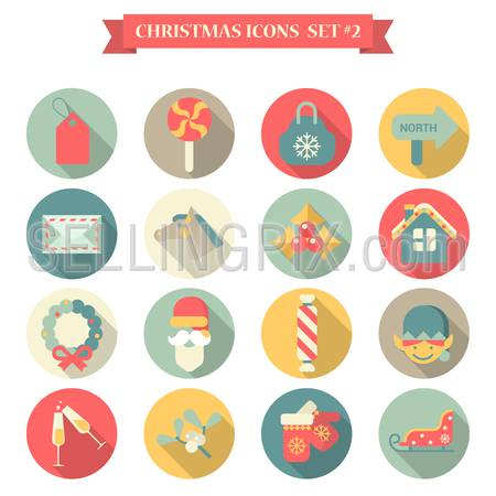Christmas New Year icon set flat style wreath label candy bag mail horse santa champagne gloves sledge elf. Collection of seasonal greeting holiday icons web element infographics print template.