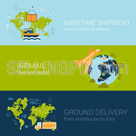 Flat logistics concept of shipping and delivery types. Web vector illustration infographic template set. Process collection: maritime shipment, airmail, ground delivery, ship, plane, aircraft, van.