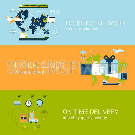 Flat logistics and delivery concept of web banners template set. Complex shipping solutions, hand-deliver, on time guaranteed shipping vector illustrations. Transport website infographics elements.
