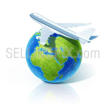Airline concept. Airplane on globe. Little tiny planets collection.