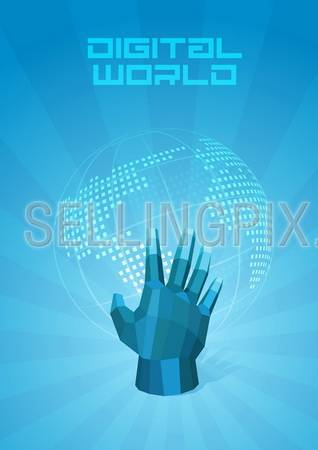 Digital World dotted map. Hand touches the globe. Future Technology Concept. Design Template of Presentation. Background abstract blue. Vector. Editable.