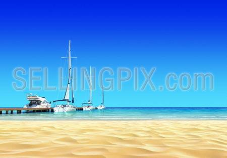 Marina pier with empty idyllic tropical sand beach. No noise, clean, extremely detailed 3d render. Concept for rest, yachting, holidays, resort, spa design or background.