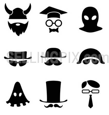 Character icon collection. BW template logo Avatar. Vector.