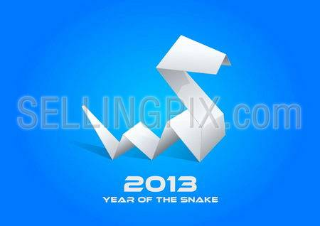 2013 Origami Snake. Happy New Year card template. Vector. Editable.