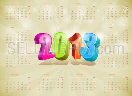 2013 Calendar. Design template. Vector. Editable.