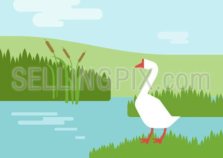 Goose on the river lake bank habitat background flat design cartoon vector farm animals birds. Flat zoo nature children collection.