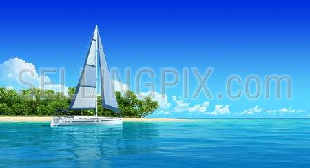 Yacht near the tropic island. Travel background with copyspace. Ocean sea panorama view.