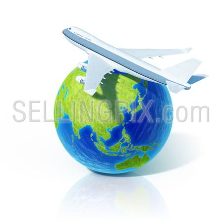 Airline concept. Airplane over world globe.  Little tiny planets collection.