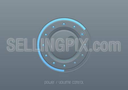 Web & mobile devices' UI design element. Interface control button.  Sound power control knob.