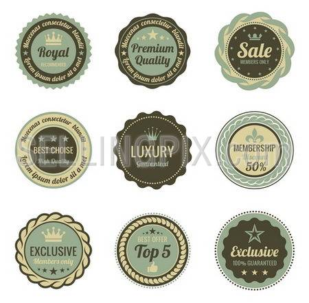 Vintage Labels set. Sale, Membership, Luxury style. Retro design. High quality. Retro logo template. High detail vector.